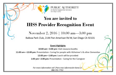 Annual Provider Recognition Event - San Diego IHSS Public Authority